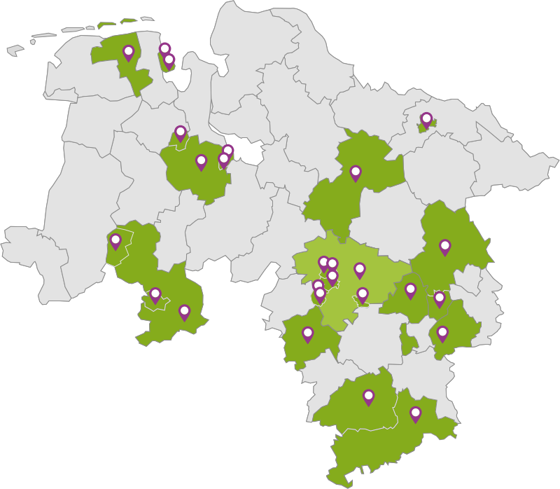 Niedersachsen Karte Mit Städten.Niedersachsenkarte